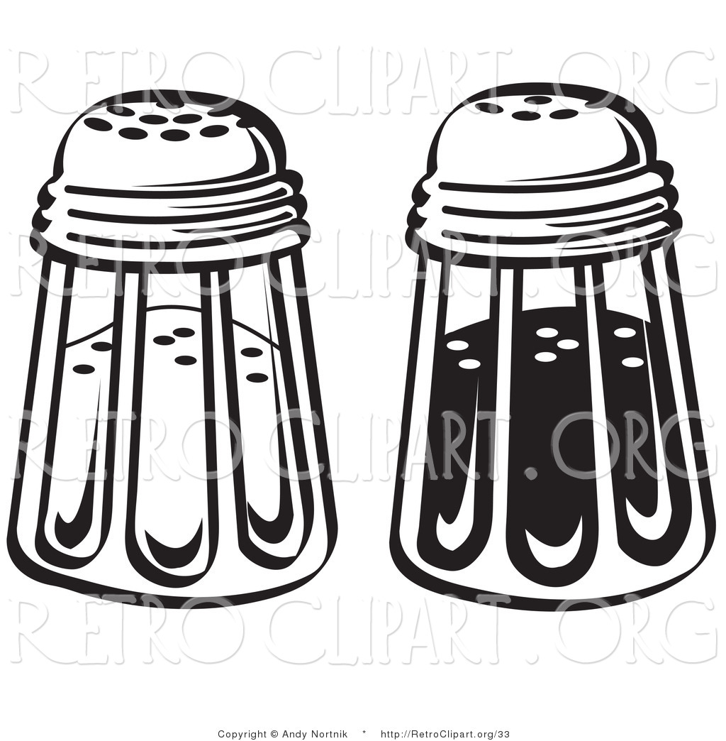 Retro Clipart Of Black And White Salt And Pepper Shakers In A Diner By