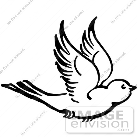 Royalty Free Clipart Illustration Of A Flying Bird In Black And White