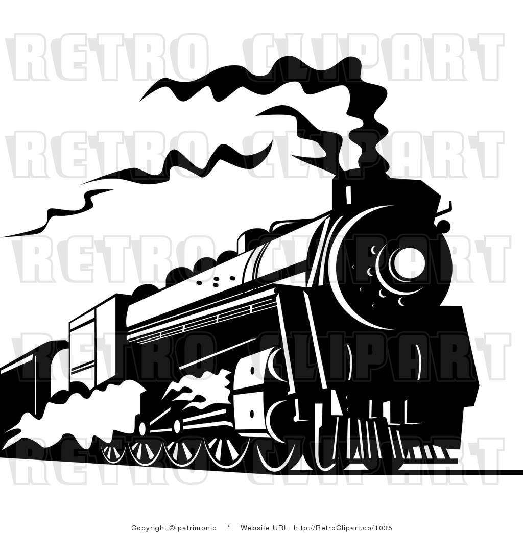 Royalty Free Retro Black And White Steam Train Traveling On A Railroad