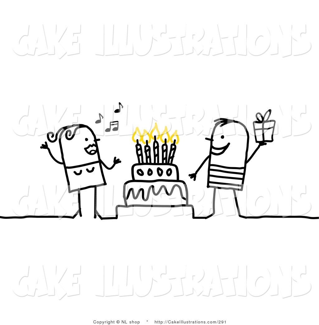 Singing And A Man Holding A Gift Around A Birthday Or Anniversary Cake