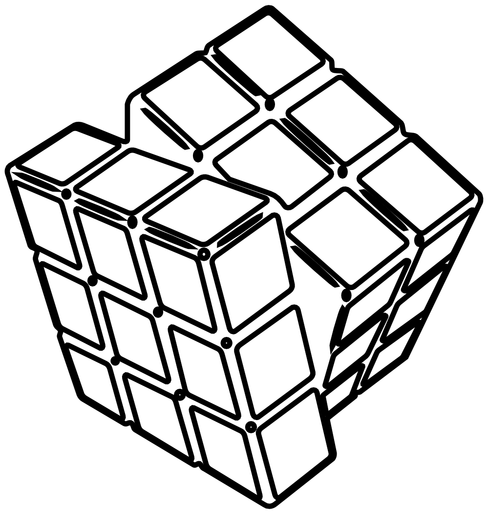 Line Art Black And White : Cube black and white clipart suggest