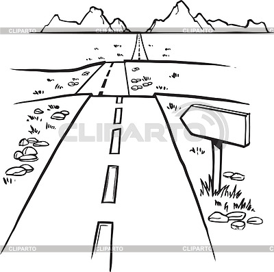 Straight Road Clipart Black And White Black And White Hand Drawn