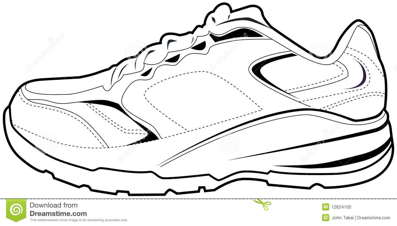 Tennis Shoes Clipart Black And White Tennis Shoe 12624100 Jpg