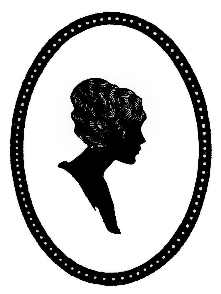 Vintage Silhouette Clip Art   Woman In Oval Frame   The Graphics Fairy