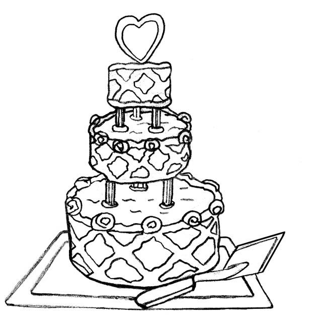 Clip Art Black And White Wedding Cake Clipart - Clipart Kid