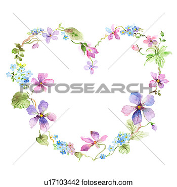 Clip Art Of Flower Picture Frame Of Heart Shape With Flowers