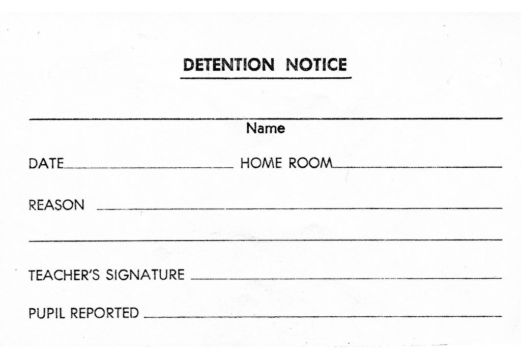 Detention clipart clipart suggest for Detention notice template