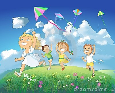 Kids Flying Kites Clip Art Children Flying Kites Children