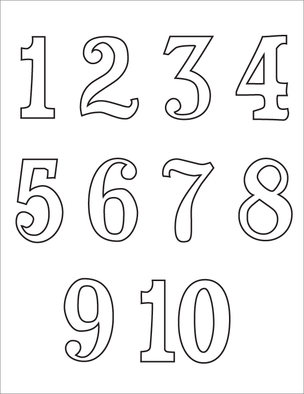Printables Number Images 1-10 black and white numbers 1 10 clipart kid numbers
