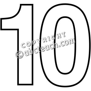 Black And White Numbers 1-10 Clipart - Clipart Suggest