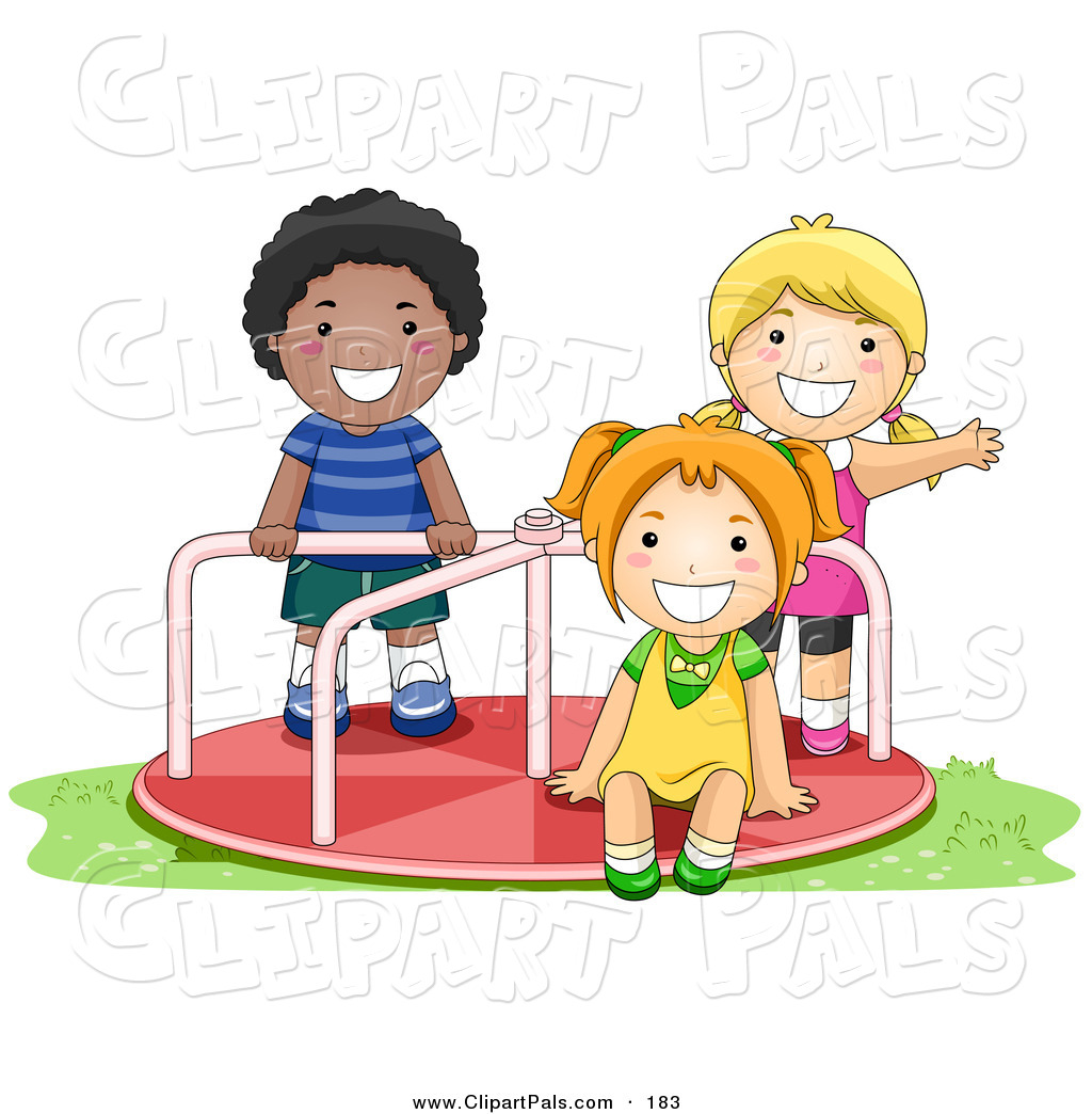 Pal Clipart Of An African American Boy And White Girls Playing