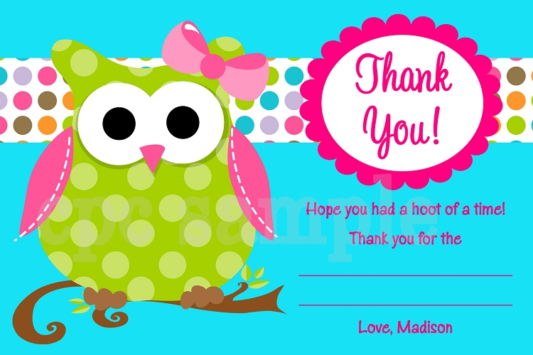 Pictures Sweet Owl Thank You Card Baby Shower Birthday Whoo Clipart