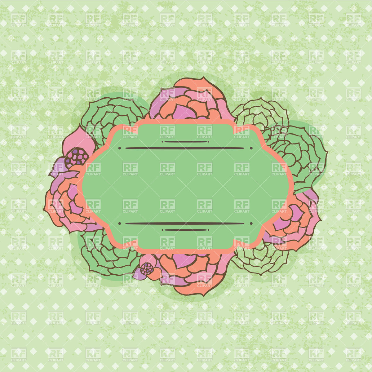 Vintage Flower Frame Of Oval Shape On Shabby Background 23519
