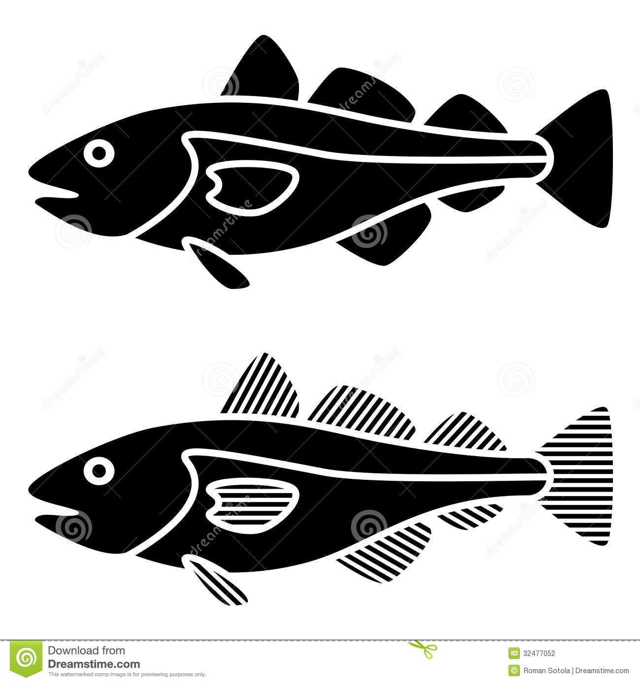 Black Cod Fish Silhouettes Stock Photography   Image  32477052