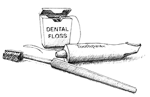 Clip Art Black And White Illustration Of Toothbrush Floss And Tube