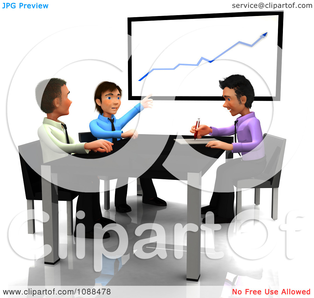 Clipart 3d Business Guys Discussing Finances In A Meeting   Royalty