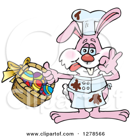 Clipart Of A Pink Easter Bunny Cheff With Chocolate Splatters And A