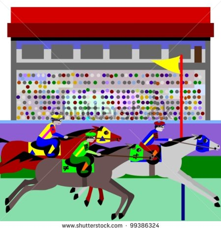 Horse Racing  Illustration Of Cartoon Horses Racing At A Track And