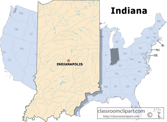 Indiana   Indiana State Map   Classroom Clipart