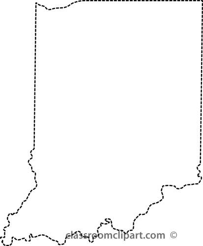 Us Outline Maps   Indiana Outline Map Dotted Lines   Classroom Clipart