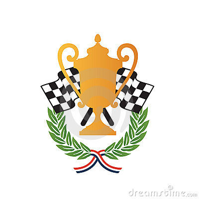 Vector Illustration Of Emblem Of Racing Winners With Gold Cup Trophy