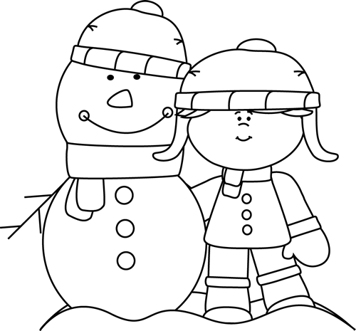 Black And White Girl With Snowman Clip Art   Black And White Girl With