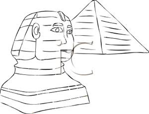 Black And White Pyramid And Sphinx   Royalty Free Clipart Picture