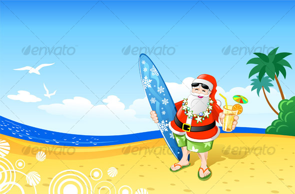 Christmas Cartoon Landscape Santa Santa Claus Nature Picture