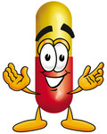 Clip Art Graphic Of A Red And Yellow Pill Capsule Cartoon Character