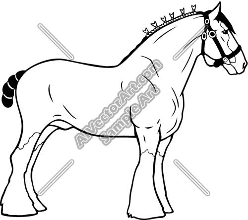 Clydesdale01nc2bw Clipart And Vectorart  Animals   Horses Vectorart