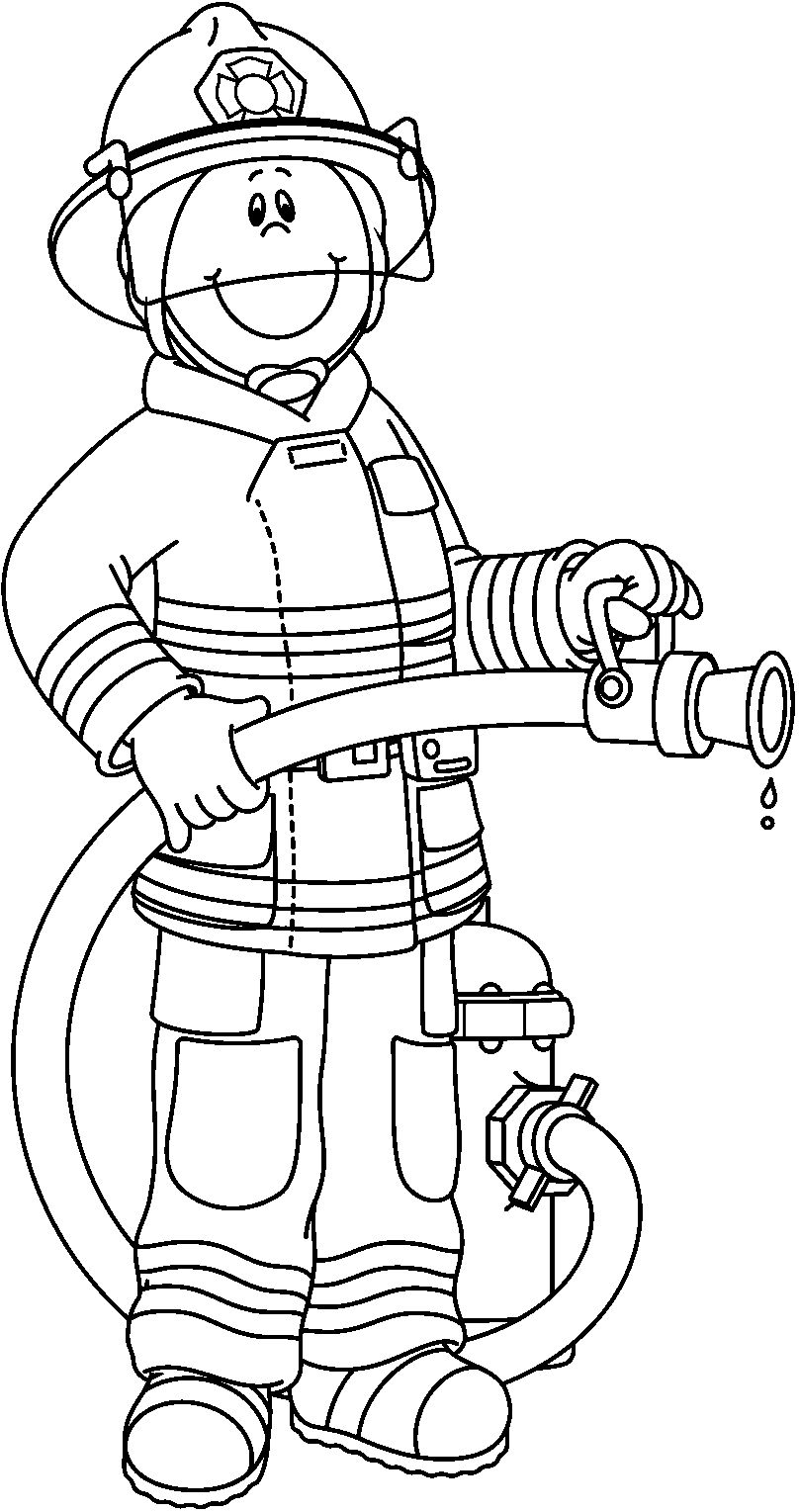 Firefighter Black And White Clipart - Clipart Suggest