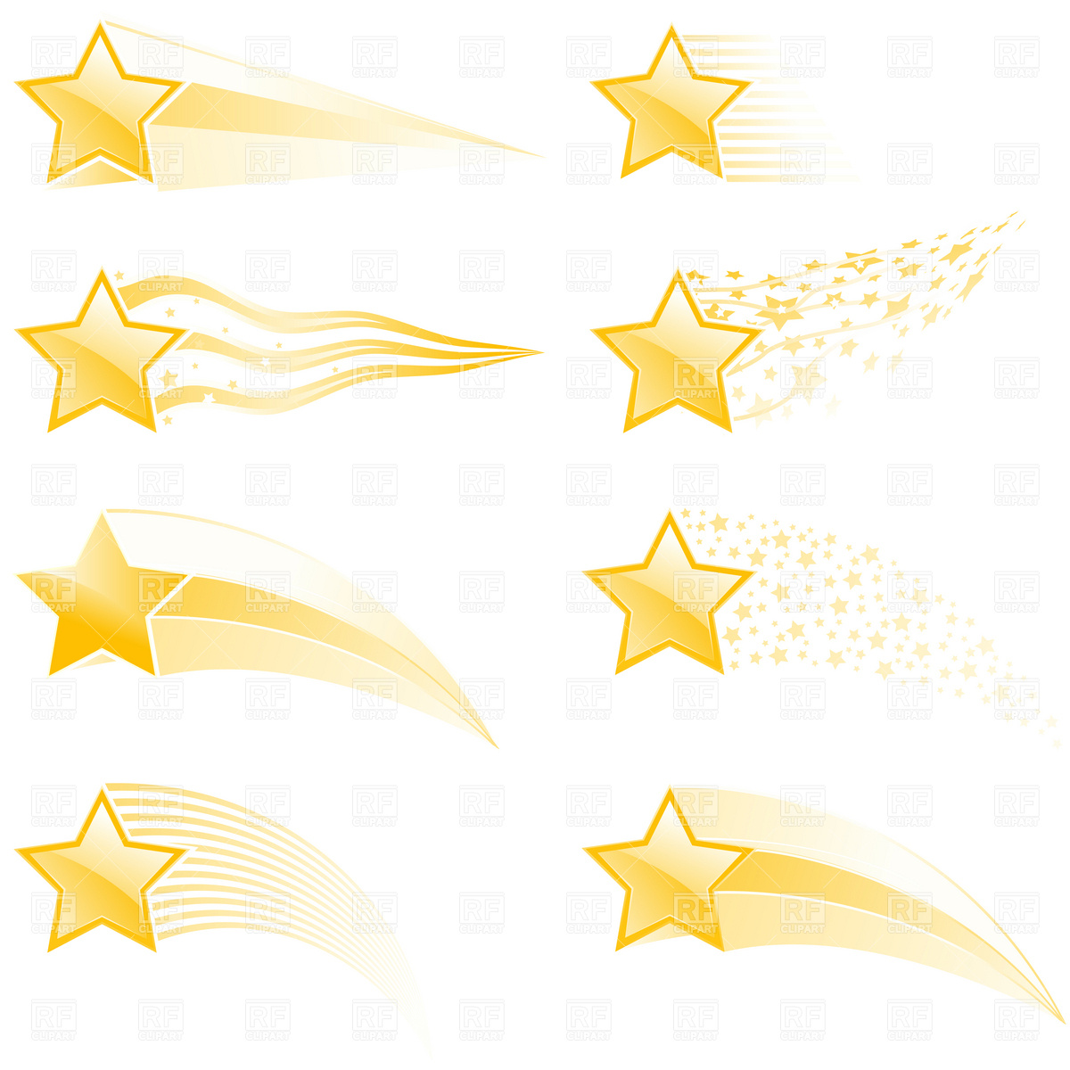 Flying Stars And Star Tracks In Different Style Vector