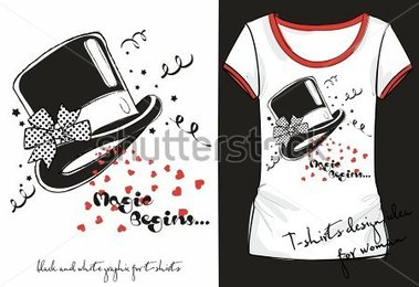 Illustration Of Trandy Sketch Woman S Shirt With Black And White