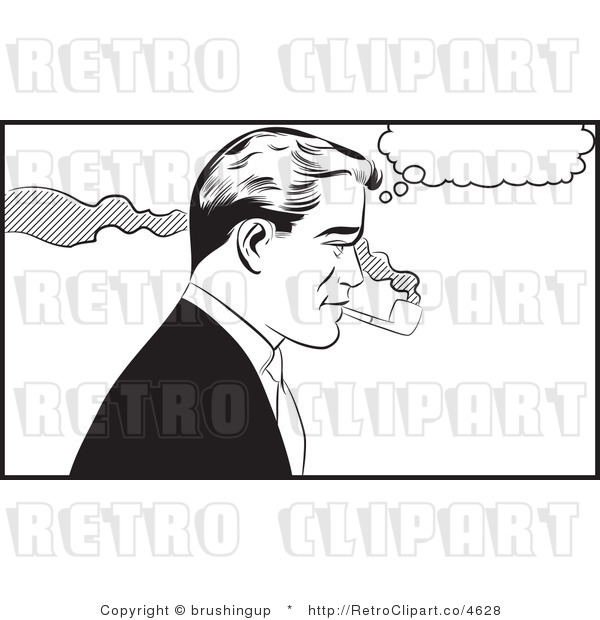 Retro Black And White Pop Art Man Smoking A Tobacco Pipe Royalty Free