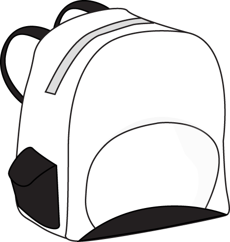 School Bag Clipart Black And White Black And White Backpack Clip