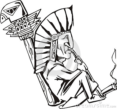 Shaman Smoking Tobacco Pipe  Black And White Vector Illustration
