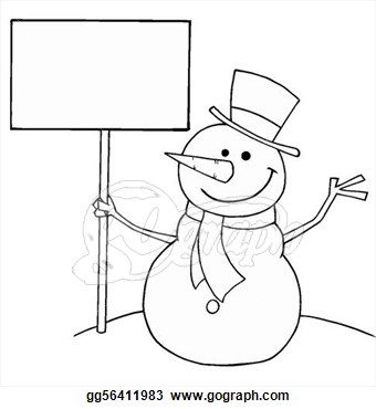 Stock Illustration   Snowman Holding A Sign  Clip Art Gg56411983