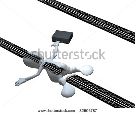 3d Man Run Over With Tire Marks On His Back Stock Photo 82506787