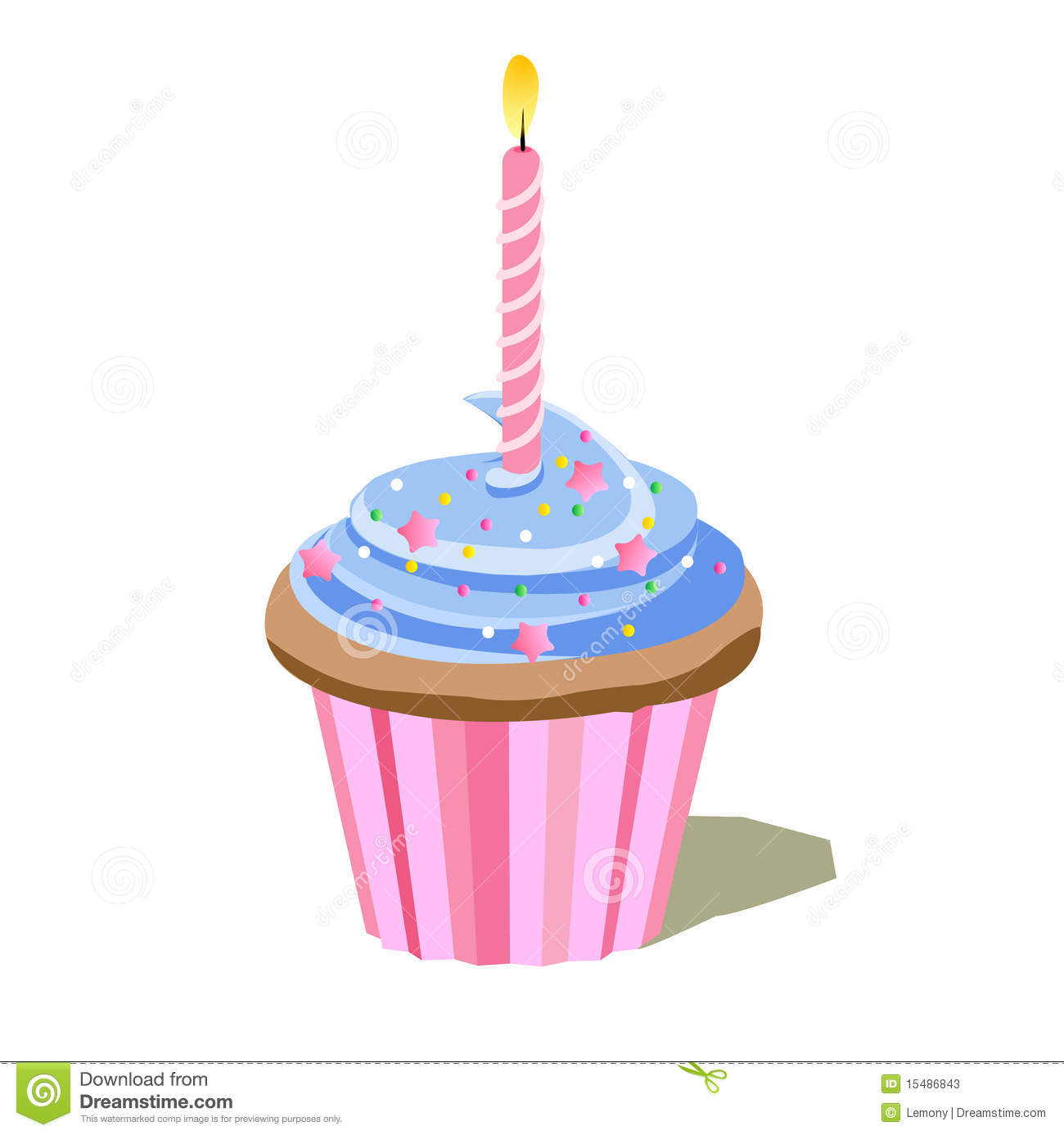 Birthday Cupcake Stock Photos   Image  15486843