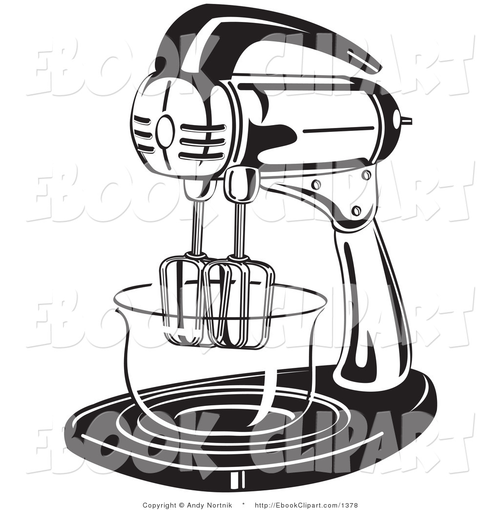 Black And White Electric Mixer In A Kitchen