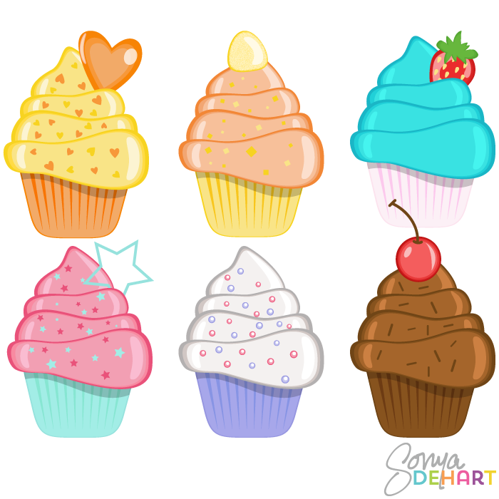 Clip Art Birthday Cupcakes