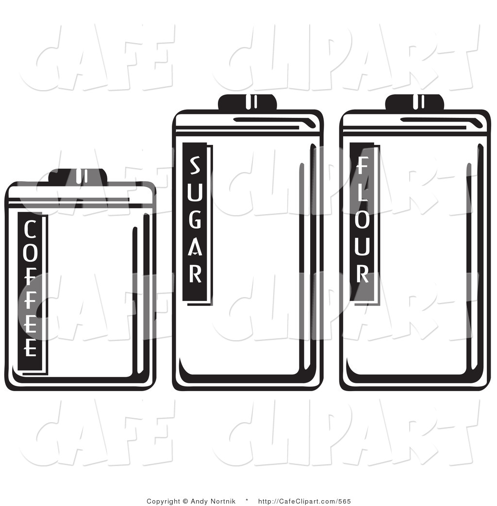 Clip Art Of Black And White Three Storage Canisters In A Kitchen