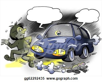 Clip Art   Pedestrian Run Over The Road At Night  Stock Illustration