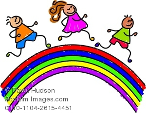 Clipart Image Of A Happy Group Of Kids Running Over A Rainbow