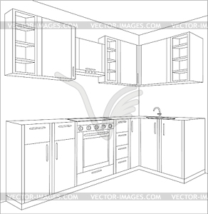 Draft Of Kitchen   Vector Clip Art