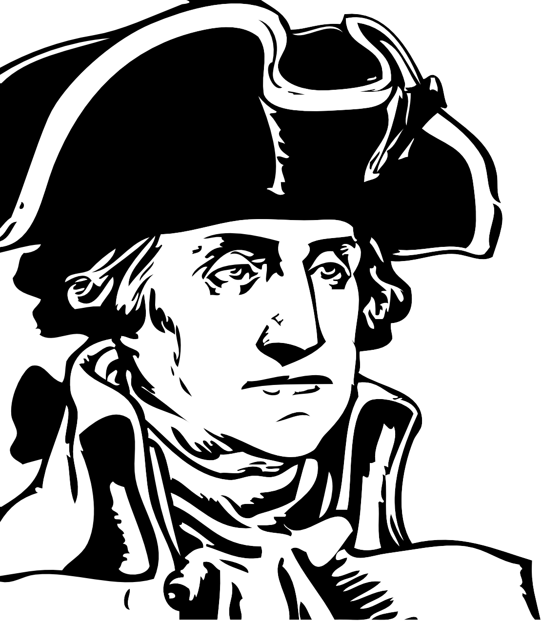 George Washington Art Coloring Book Colouring Sheet Page Black White