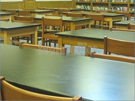 Picture Of Wooden Chairs And Desks In Old Fashioned Classroom