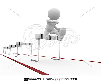 Running Over Barrier  This Is A 3d Render Illustartion  Clip Art