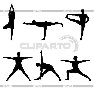 Six Yoga Standing Poses   High Resolution Stock Illustration   Id