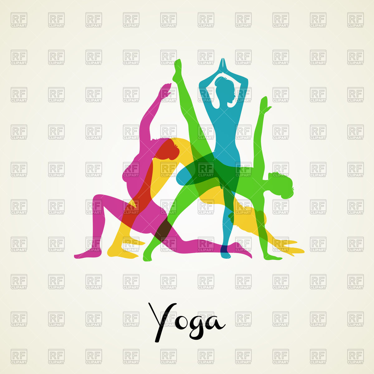 Yoga Poses   Colorful Silhouettes Of Girls Download Royalty Free